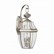 sea gull lighting lancaster 2 light brushed nickel outdoor wall lantern 8039en 965