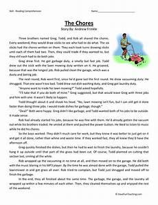 poetry comprehension worksheets third grade 25368 reading comprehension worksheet the chores