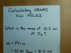 how to calculate grams from moles moles to mass