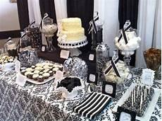 bridal shower decoration ideas black and white dessert table black and white damask bridal shower