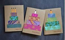 geburtstagskarten gestalten bunt papierstreifen torte diy