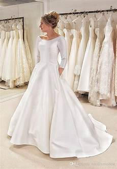 modest wedding gowns with 3 4 sleeves discount 2019 new a line simple satin modest wedding dress