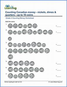 adding canadian money worksheets grade 2 2619 grade 2 canadian money worksheet count nickels dimes and quarters k5 learning