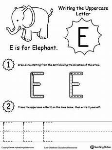 letter e worksheets 24106 writing uppercase letter e letter e lettering teaching letters