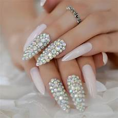 rhinestone extra long stiletto nails lavenderblush pre
