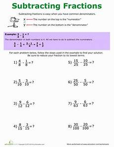 5th grade fraction worksheets how to subtract fractions worksheet education com