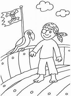 kostenlose malvorlage piraten pirat mit papagei zum ausmalen