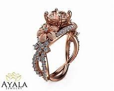 14k rose gold morganite ring gemstone engagement ring flower ring art deco ring ebay
