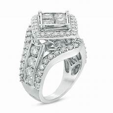 3 1 2 ct t w princess cut diamond tilted frame vintage style engagement ring in 14k white