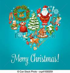 merry christmas greeting in heart shape merry christmas vector greeting with christmas symbols