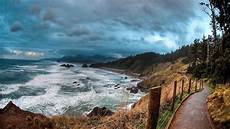 sea road lengthwise sea clouds landscape wallpaper