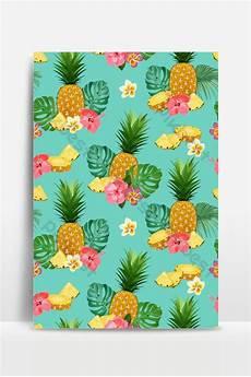 Pola Nanas Utuh Utuh Dan Iris Dengan Bunga Tropis Dan Daun