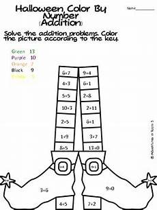 halloween color by numbers addition and subtraction by