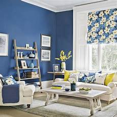 modern blue living room with forsythia yellow accents housetohome co uk