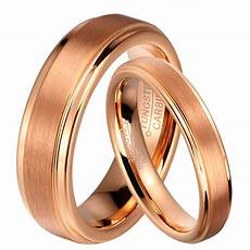 8mm men or 6mm women tungsten carbide rose gold brushed