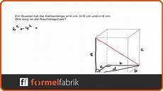 pythagoras raumdiagonale quader