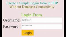 create simple login form in php without database with