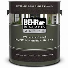 behr premium plus ultra 1 gal ultra pure white gloss enamel exterior paint and primer in