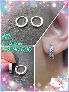 jual aksesoris accessories perhiasan perak silver anting jepit bulat permata 2 di