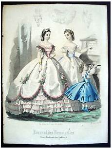 vintage color gravure de mode 1865 journal des