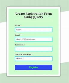create simple registration form using jquery formget