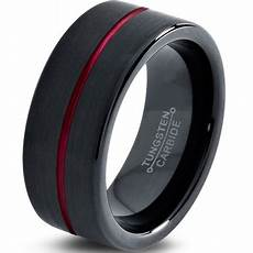 charming jewelers tungsten wedding band ring 8mm for men black pipe cut brushed