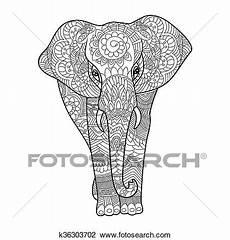 elefant ausmalbilder f 252 r erwachsene vektor clipart