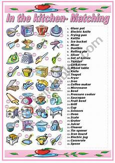 in the kitchen utensils and appliances matching exercise b w version included esl
