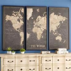 cadre triptyque carte du monde noir 180x120 cadre