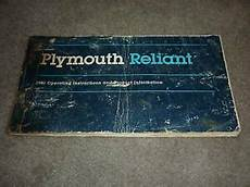 service repair manual free download 1981 plymouth reliant on board diagnostic system 1981 plymouth reliant original owners manual ebay