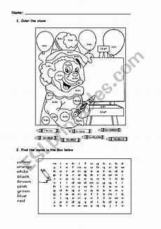 color the clown esl worksheet by agnpedro