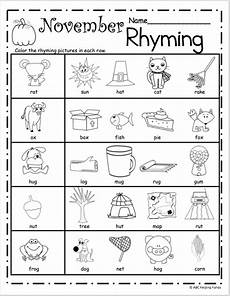free november rhyming worksheets madebyteachers