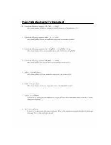 mole mole stoichiometry worksheet 1 pdf mole mole