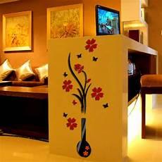 home decor stickers 3d vase flower tree plastic wall sticker home room tv