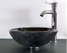 Nero Badshop Aufsatz Glas Waschbecken Schwarz Granit