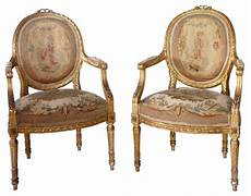 Louis Seize Stuhl - pair of louis xvi style gilt aubusson armchairs