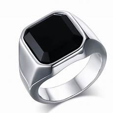 cincin pria titanium stainless steel square black onyx stone thick band elevenia