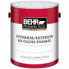 behr premium plus 1 gal ultra pure white hi gloss enamel interior exterior paint 805001 the