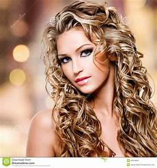 beautiful with curly hairstyle stock images image 34019004