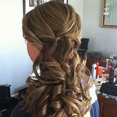 bridesmaid curly low side ponytail updo jamiewarzel