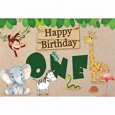 Animal Happy Birthday Photography Background Cloth by Laeacco Happy One Birthday Animals Leave Baby Portrait