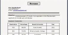resume format resume format for bca students