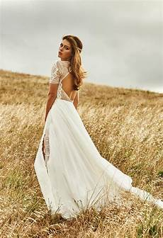 trouwjurk boho lace country style side split bridal gowns with long train bohemian beach wedding