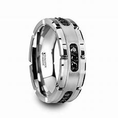 valor grooved tungsten ring with silver inlay black diamonds 8mm
