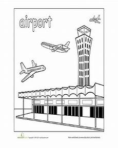 coloring pages places in town 18038 paint the town airport education community helpers theme