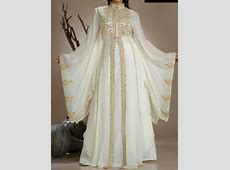 White & Gold Abaya:   Dubai wedding dress, Evening dresses