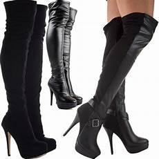 womens black knee thigh high heel stretch