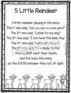 5 reindeer poem for kindergarten
