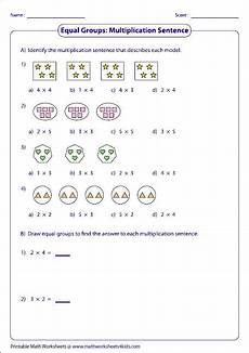 addition and multiplication sentence worksheets for grade 2 9504 equal groups multiplication sentences alter