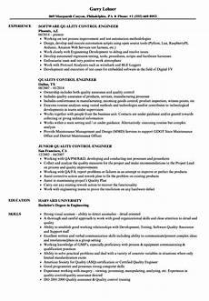 quality control engineer resume sles velvet